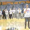 Tribune-Star/Rachel Keyes<br /> Thank you: Indiana State Coach Greg Lansing thanks the players and the fans at rally.