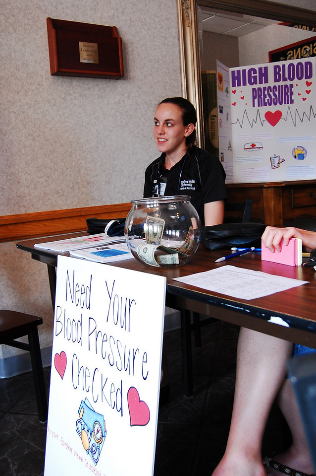 Every wednesday the Nursing Students check blood pressure outside of the caf