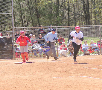 First Baseman Morgan Baker runs to the bag.