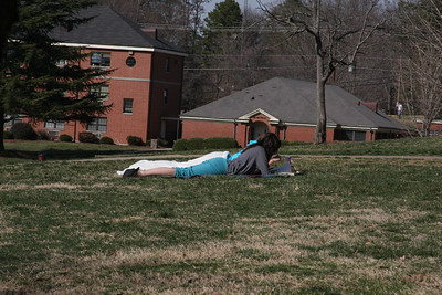 Students enjoy the warm Thursday afternoon.