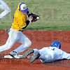 Stolen base: Indiana State's #1, Tyler Wampler steals second base during late inning action against Western Illinois Friday afternoon. Western second baseman #15, Bryan Jordan can't find the handle on the ball.
