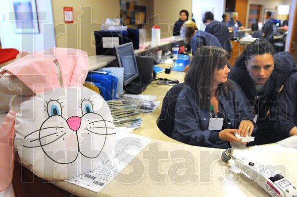 """Delivered: Ann Welch of the Service League of Union Hospital delivered twelve """"bunny pillows"""" to the Wabash Valley Surgery Center today bringing the total to more than five thousand Friday afternoon."""