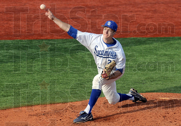 Heat: Indiana State's #29, Colin Rea fires a pitch to the plate during game action against Western Illinois Friday afternoon.