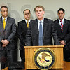 Healthcare fraud: United States Attorney Josheph H. Hogsett (at podium) announces the indictment of John D. Love of Brazil on fraud and money laundering charges.