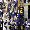 """Three ball: Sullivan's #23, David Bedwell launches a """"three"""" late in the game against Corydon Central."""