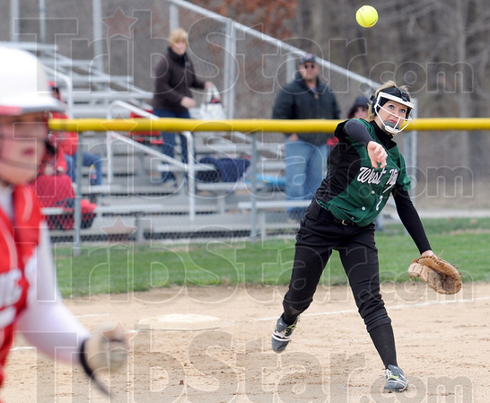 Gotcha: West Vigo's #2, Jacy McClain fires to first base to throw out the runner during early inning action against Princeton Saturday afternoon.