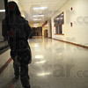 Tribune-Star/Rachel Keyes<br /> Gaining ground: Franklin Elementary fourth grader Reba Jones slowly makes her way to class early Monday morning. Franklin has many programs in place to try and teach students the importance of education and the discipline of being on time.