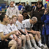 Tribune-Star/Rachel Keyes<br /> Pep talk: Coach Christi Deal gives her team Happiness Bag a pep talk before the starting action at the Special Olympic games held Saturday at ISU.