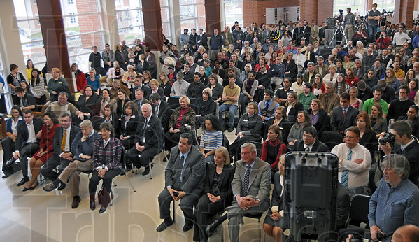 "Community: A large gathering of people attend the ""Stellar Community"" celebration at DePauw University Thursday morning."