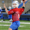 Throw: Freshman ISU quarterback Chris O'Leary makes a throw during the first day of spring practice Wednesday afternoon.