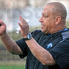 Coach: Trent Miles communicates with his players during Wednesday's first day of spring practice Wednesday afternoon.
