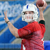 Quarterback: Indiana State university freshman Chris O'Leary makes a throw during Wednesday's first day of spring practice.