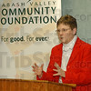Grateful: Judy Lowe of Vigo Countys' PALS program, one of the two Wabash Valley Commnity Foundations grant recepients Wednesday afternoon talks about the work being done to help school children with their reading skills.