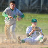 Tribune-Star/Jim Avelis<br /> Rough & tumble: North Centrals' Zach Lyday looks to his 3rd base coach for instructions after a collision with Viking second baseman Lucas Fagg.