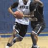 Tribune-Star/Rachel Keyes<br /> Hard work: Indiana State's Isiah Martin take it to hard to the basket during practice.