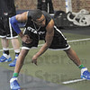 Tribune-Star/Rachel Keyes<br /> Getting ready: Indiana State's Dwayne Lathan stretches out in the weight room during practice.