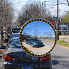 Tribune-Star/Jim Avelis<br /> Reflections of the future: A safety reflector shows southbound traffic along North 4th street near the ISU arena.