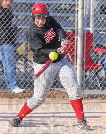 Tribune-Star/Jim Avelis<br /> Big blast: ...of Terre Haute South hits a two run double in early action against Casey on the Braes diamond Monday evening.