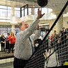 Score: Regional Hospital CEO Brian Bauer launches a shot and scores during Tuesday's nutrition event.