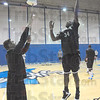 Tribune-Star/Jim Avelis<br /> Adjusting: Myles Walker practices for playing against the reach of the 7-foot tall Syracuse center Fab Melo. Providing the defense is ISU graduate manager Doug Svatos.