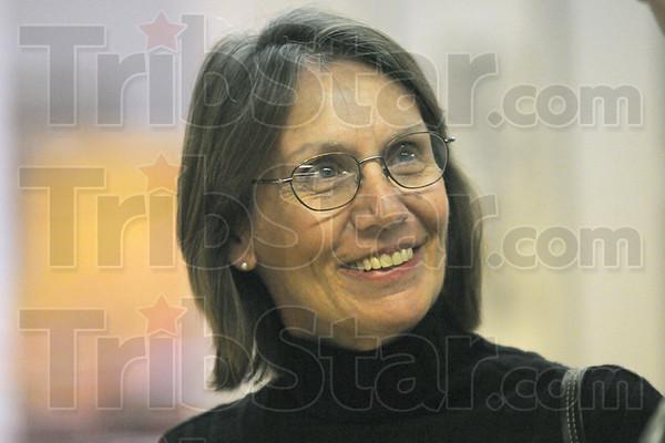 Artist: Mary Jo Maraldo headshot talks with Tribune-Star reporter Arthur Foulkes Tuesday afternoon.