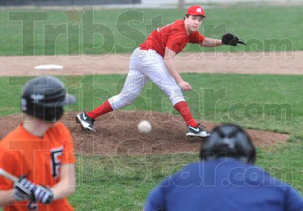 Incoming: Marshall pitcher Zach Remlinger fires a pitch to the plate during game action Tuesday afternoon.