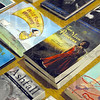 Book detail: Some of the books published by Tanglewood Press on display at Honey Creek Middle School Tuesday morning.