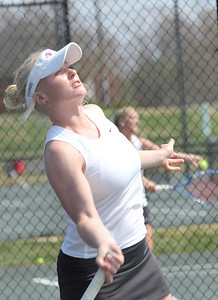 Laura Kriett plays in a match against Pfeiffer University on March 19th, 2011.
