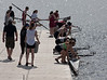 Girls first varsity putting in the boat