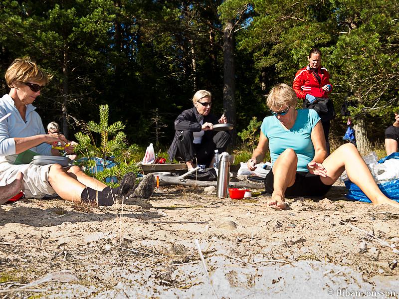 Lunch på sandstrand