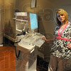 "Tribune-Star/Jim Avelis<br /> Ready to help: Leslie Voils is a Radiology technician at the Clara Fairbanks Center for Women. ""Breast exams are totally different than anything because we are looking at tissue, not bones,"" Voils said"