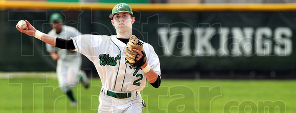 Gotcha: West Vigo shortstop #2, Lucas Fagg fields a ground ball and fires it to first to throw out the batter durng early action against Clay City Thursday evening.