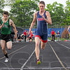 Tribune-Star/Jim Avelis<br /> Fastest in town: Terre Haute Norths' Dakota Schefke won the 100 meter-dash in boys' sectional track action Thursday evening.