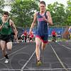 Tribune-Star/Jim Avelis<br /> Fastest in town: Terre Haute Norths' Dakota Schefke won the 100 meter-dash in boys' sectional track action Thursday evening.