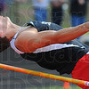 "Tribune-Star/Jim Avelis<br /> According to form: Terre Haute South jumper Nick Yeager performed as expected, winning the high jump from his top seed position. His height of 6'6"" was enough since he had fewer misses that South Vermillion leaper Dion Scott, the second seed and second place competitor.."
