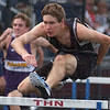 Tribune-Star/Jim Avelis<br /> Easy win: Northviews' Joel Whittington cruised to a win in the 110-meter hurdles.