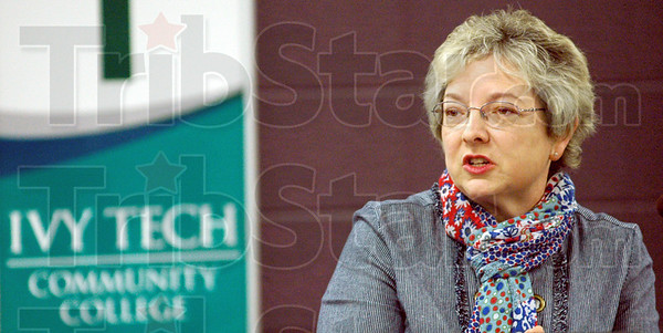 Chancellor: Dr. Ann Valentine speaks with faculty and staff during her introduction Thursday morning..