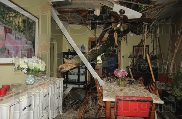 Tribune-Star/Rachel Keyes<br /> Uninvited guest: Wanda and Bill Hudgins get an uninvited guest last night as a tree falls into their home in Bridgeton.