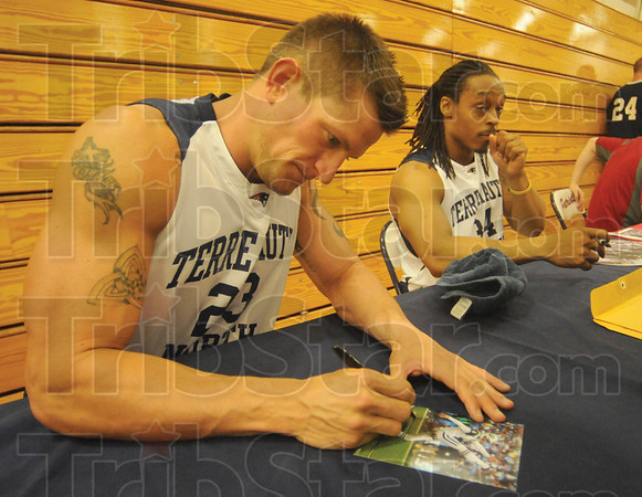 Tribune-Star/Rachel Keyes<br /> Home for the cause: Terre Haute North Alumni Steve Weatherford comes home to support a good cause.