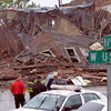 Collapse: The building on the southwest corner of 6th Street and National Avenue in West Terre Haute collapsed Thursday afternoon.