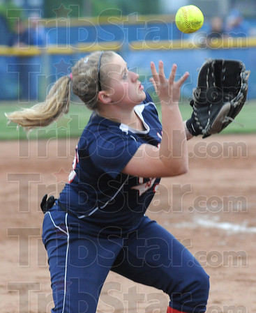 Tribune-Star/Rachel Keyes<br /> In the glove: Terre Haute North's Katelynn Herrick makes a great catch in sectional action Friday night.
