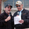 "Tribune-Star/Jim Avelis<br /> Back home: Gary Morris and Bill Kauffman sang ""Back Home Again in Indiana"" before the race began."