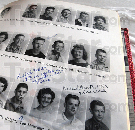 Tribune-Star/Rachel Keyes<br /> Keeping record: This 1961 edition of the Chieftain has a hand written record of the death of classmates. At the annual alumni dinner a candle is lit for all those who have pass on that year.