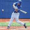 Tribune-Star/Rachel Keyes<br /> Batter up: Indiana State's Kyle Burnam takes a crack at the ball in action on Sunday.