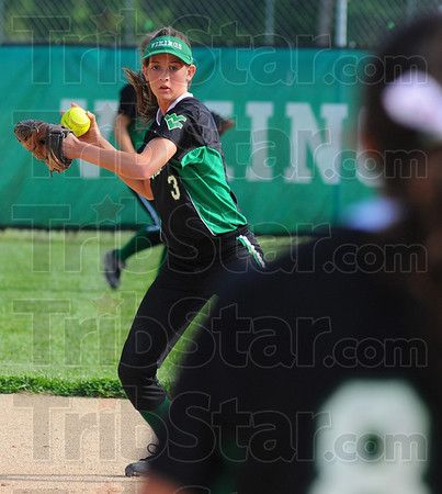 Tribune-Star/Jim Avelis<br /> Sure hands: West Vigo short stop Cassidy Carlson throws to first base for an out in early action Friday evening against the Linton Miners.