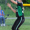 Tribune-Star/Jim Avelis<br /> High hopper: West Vigo 3rd baseman Ciara McClain gloves a ground ball before throwing to first for an out.