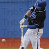 Tribune-Star/Rachel Keyes<br /> Get a hit: Indiana State's Lucas Hileman gets a base hit in early innings against Southern Illinois Friday night.