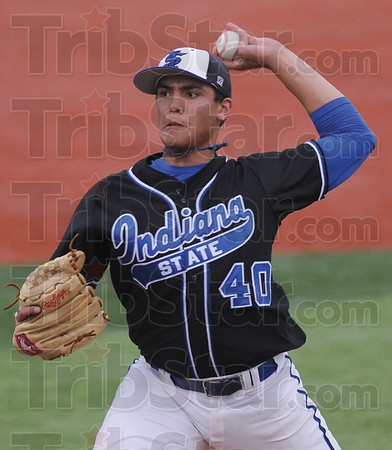 Tribune-Star/Rachel Keyes<br /> Battling on the mound: Indiana State's Sean Manaea battles through the early innings of Friday's home game against Southern Illinois.