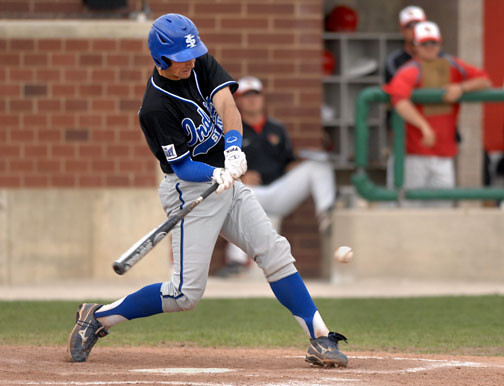 Indiana State's Jeremy Lucas smacks the ball against Illinois State Saturday, April 30, 2011, during the ninth inning at Duffy Bass Field in Normal.    (Pantagraph/CARLOS T. MIRANDA)