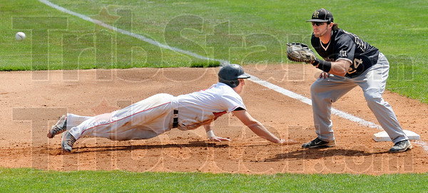 Back: Rose-Hulman's #3, Bobby Newman dives back into first base durng a pick-off attempt against Manchester Saturday afternoon.
